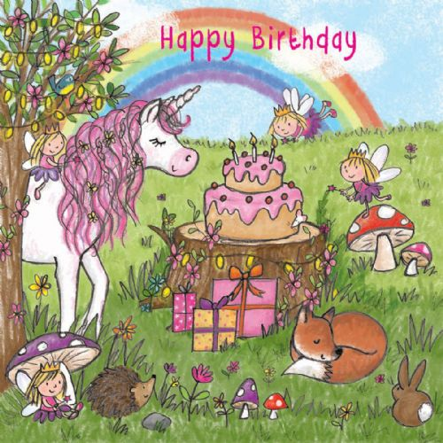 TW722 – Girls Happy Birthday Card Unicorn